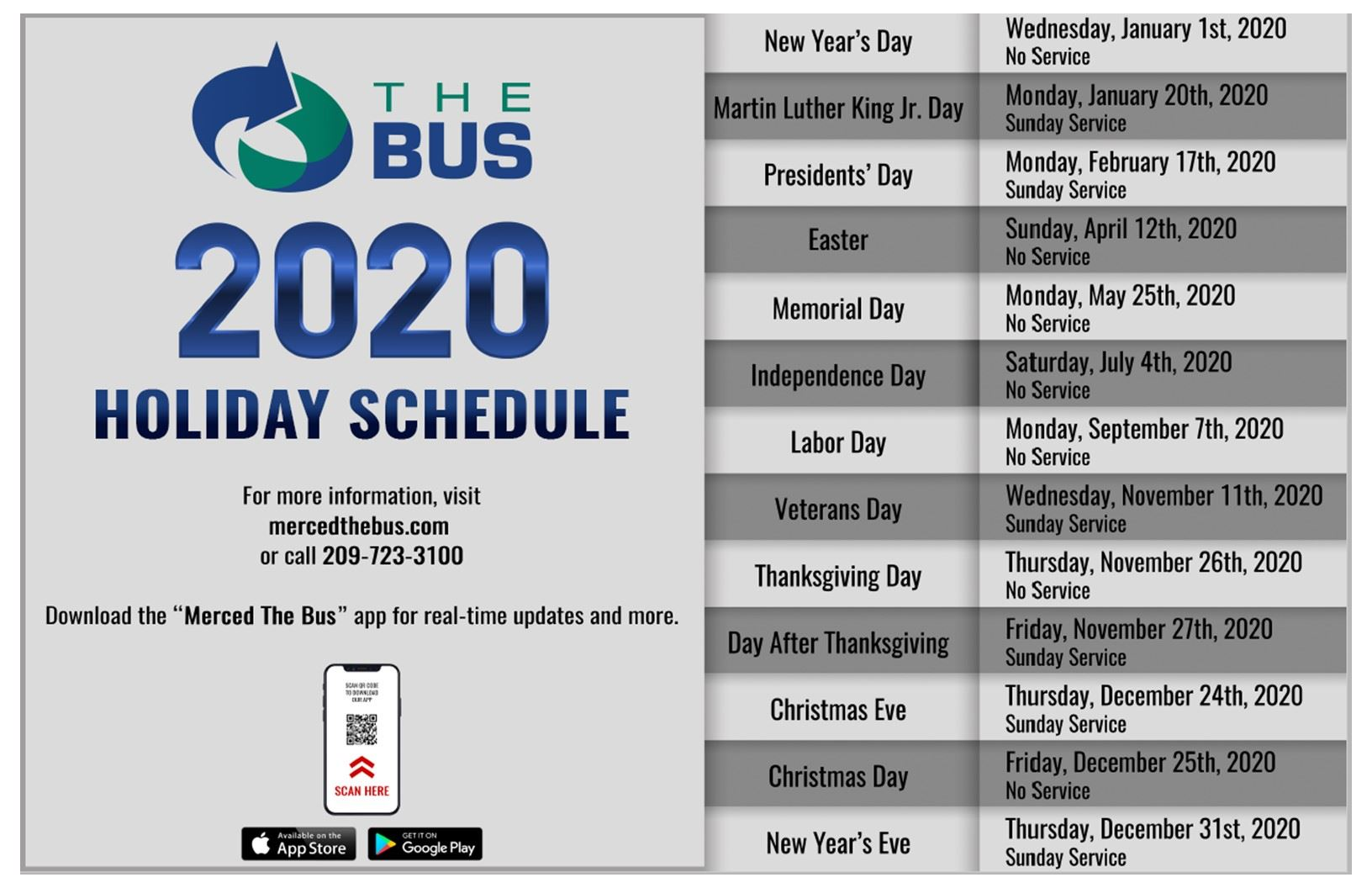 2020 Holiday Schedule