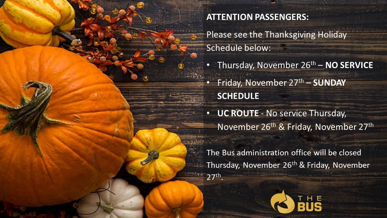 Thanksgiving schedule English
