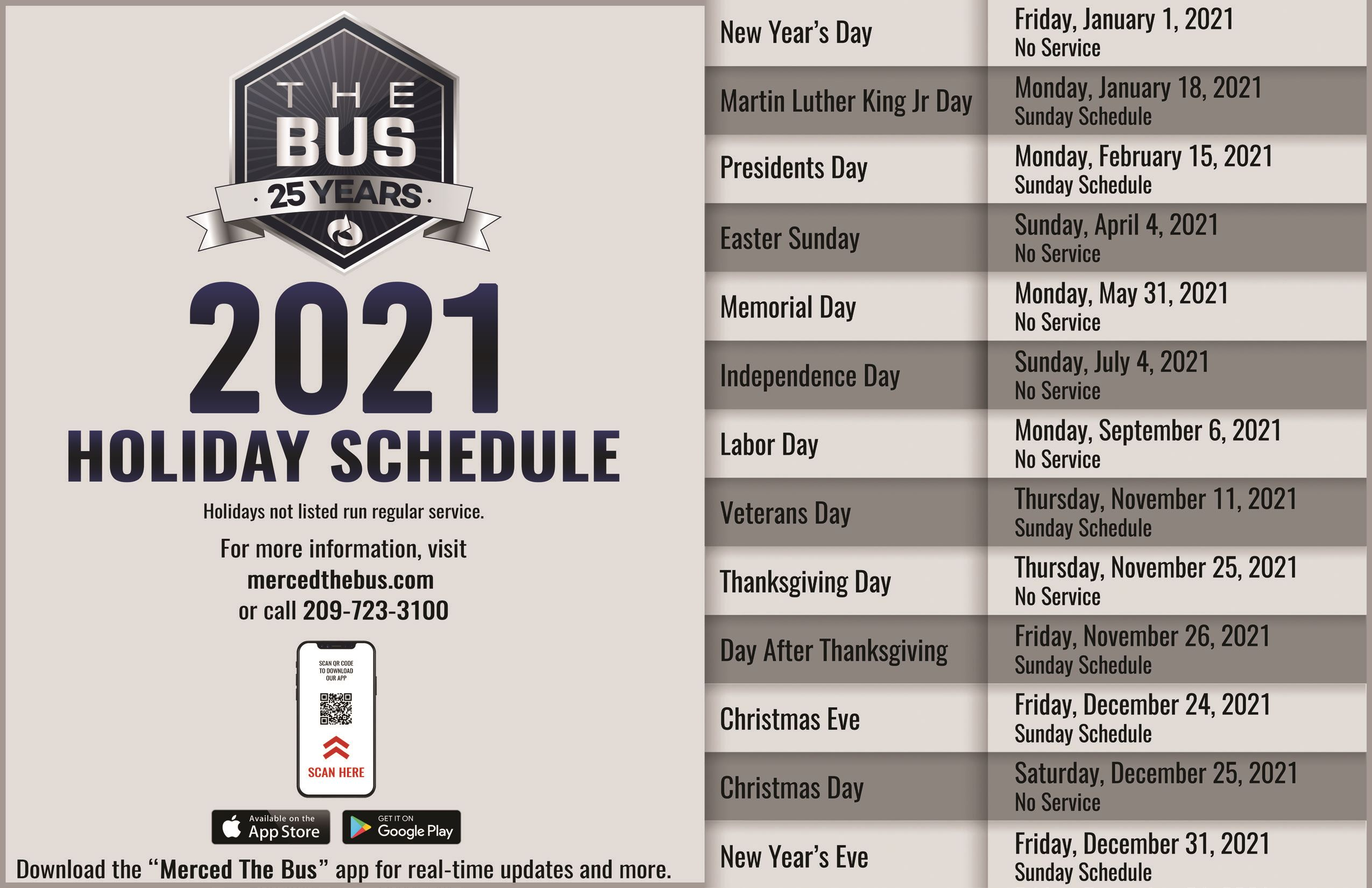 Holiday Schedules 2021 English